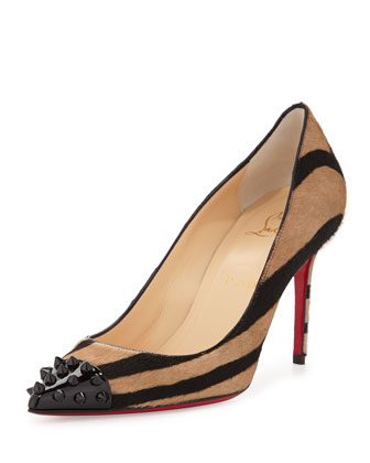 Spike-Toe Calf Hair Red Sole Pump, Taupe
