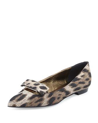 Leopard-Print Bow-Buckle Ballerina Flat