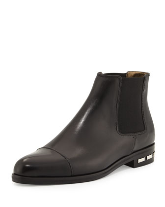 Chelsea Leather Bootie, Black