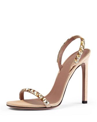 Mallory Crystal-Embellished Suede Sandal
