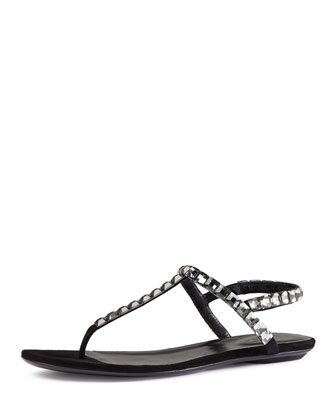 Mallory Crystal-Embellished Suede Thong Sandal, Nero