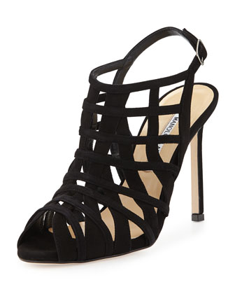 Dance Caged Suede Slingback Sandal, Black