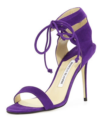 Laramod Suede Ankle-Wrap Sandal, Purple