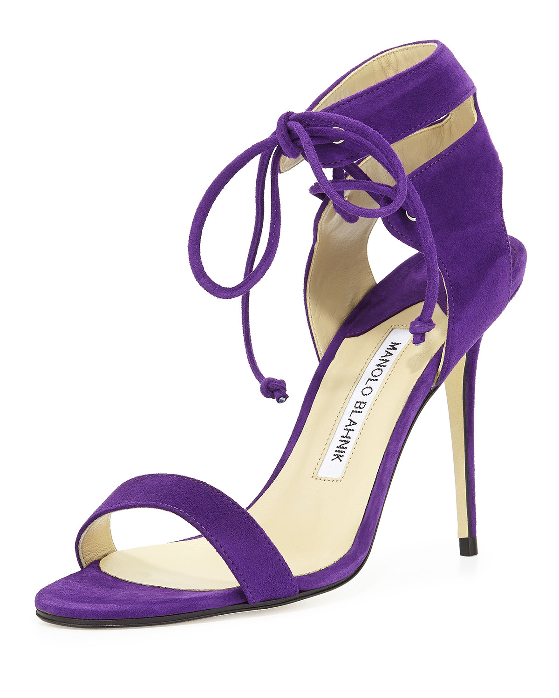 Laramod Suede Ankle-Wrap Sandal, Purple - Manolo Blahnik
