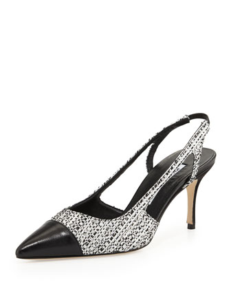 Mastael Tweed Slingback Pump, Black/White