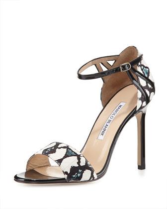 Riah Snakeskin Ankle-Strap Sandal