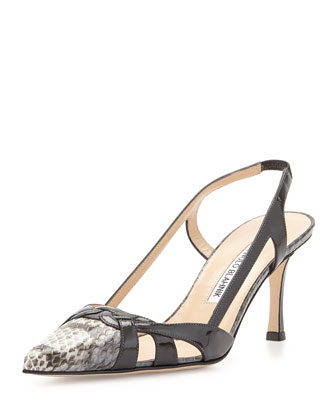Burtinetto Snakeskin Slingback Pump, Gray
