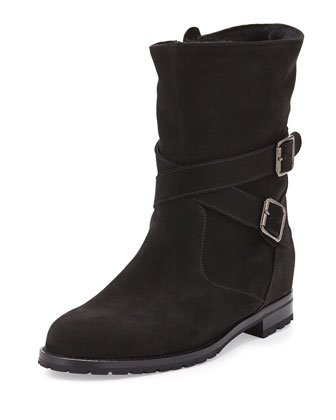 Suede Shearling-Lined Boot, Black