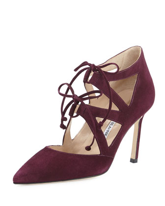 Asaki Double-Tie Suede Pump, Raisin