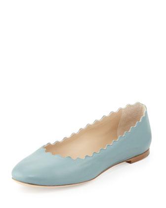 Scalloped Calfskin Ballerina Flat, Blue