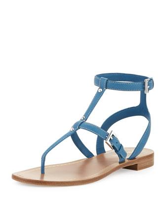 Studded Ankle-Wrap Thong Sandal, Cobalt