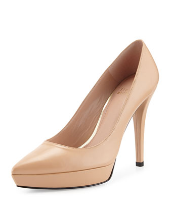 Point Goatskin Pointy-Toe Pump, Adobe