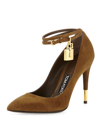 Suede Padlock Ankle-Strap Pump, Brown