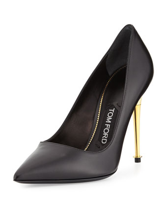 Golden Pin Heel Leather Pump