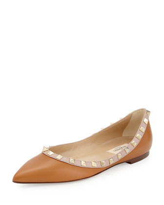 Rockstud Leather Ballerina Flat, Cuir