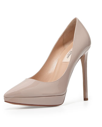Patent Leather Platform Pump, Poudre