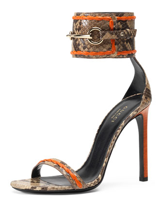 Ursula Python Ankle-Wrap Sandal, Orange