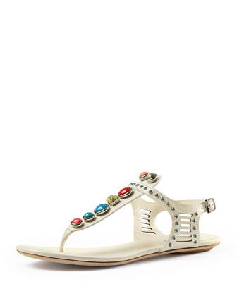 Lika Embellished Thong Sandal, White