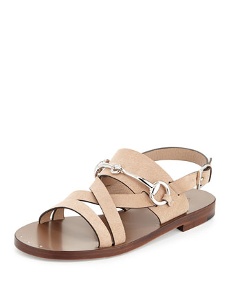 Juliette Leather Bit-Strap Sandal, Beige
