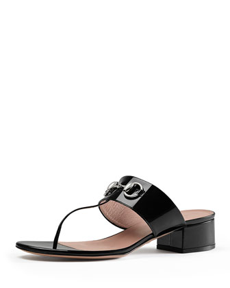 Liliane Patent Horsebit Thong Sandal, Black