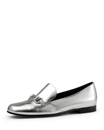 Kira Metallic Leather Horsebit Loafer, Argento