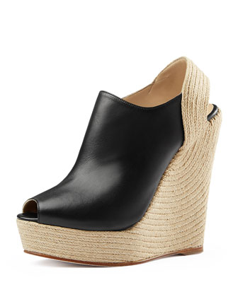 Tiffany Leather Espadrille Wedge, Nero