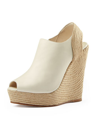 Tiffany Leather Espadrille Wedge, White