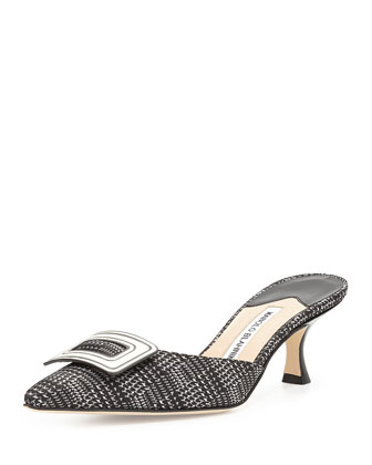 Arriga Buckle Mule Slide, Black