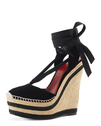 Alexis Lace-Up Espadrille Wedge, Nero