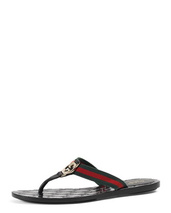 GG Web Thong Sandal, Black
