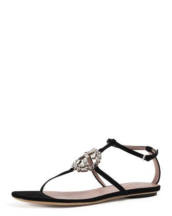 GG Sparkling Suede Thong Sandal, Black