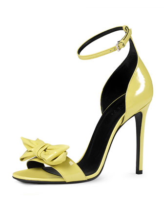 Clodine Patent Leather Sandal, Yellow