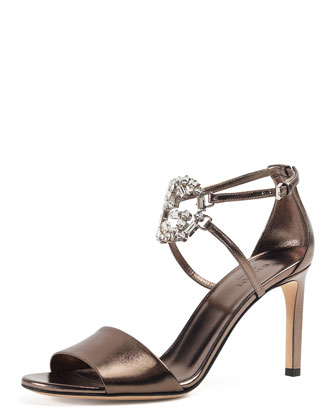 GG Sparkling Metallic Leather Sandal, Sasso