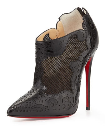Mandolina Laser-Cut Mesh Red Sole Bootie, Black