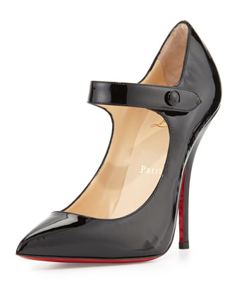 Neo Pensee Mary Jane Red Sole Pump, Black