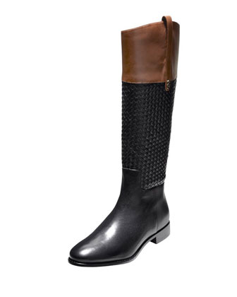 Brennan Leather/Woven Riding Boot, Black/Harvest Brown