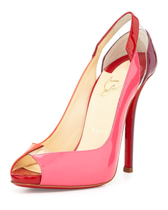 Technicatina Peep-Toe Combo Red Sole Pump