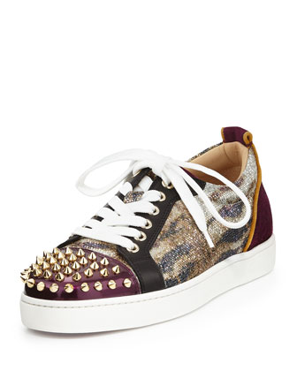 Spike-Toe Glitter Lace-Up Sneaker, Gold