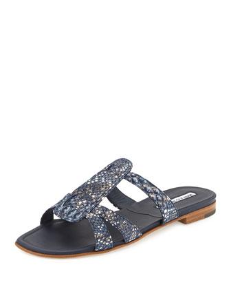 Fregia Faux-Snake Flat Sandal, Blue
