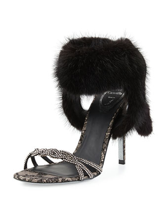 Mink Fur Ankle-Wrap Lace Sandal, Black