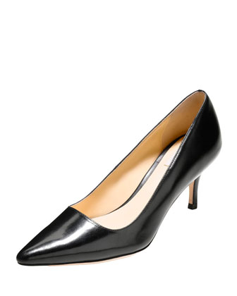 Bradshaw Leather Point-Toe Pump, Black