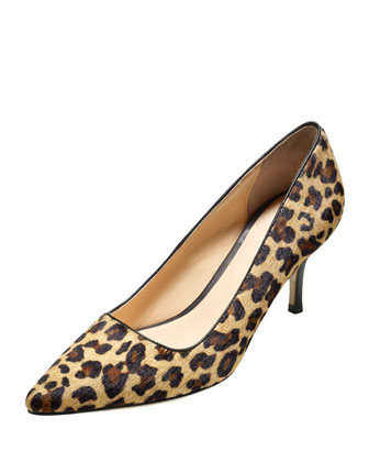 Bradshaw Calf Hair Point-Toe Pump, Camello