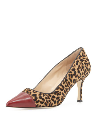 Bipunta Calf Hair Cap-Toe Pump, Leopard