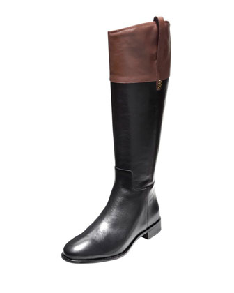 Brennan Leather Riding Boot, Black/Harvest Brown