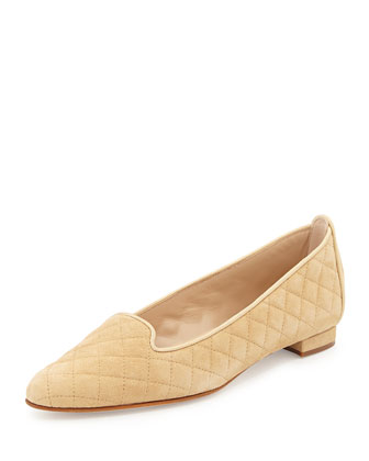 Yak Quilted Suede Smoking Slipper, Beige