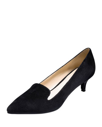 Daphne Suede Low-Heel Pump, Black