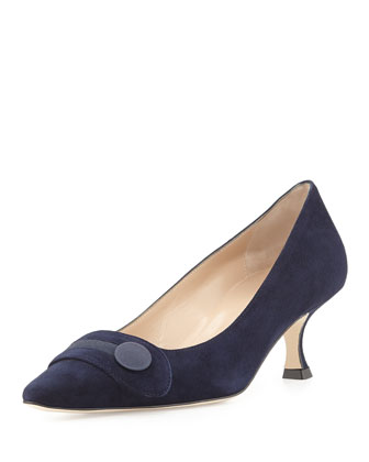 Scani Suede Button Pump, Navy