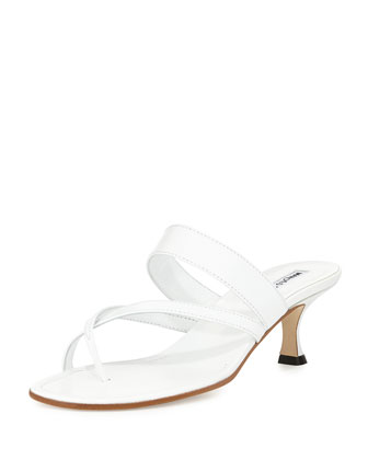 Susa Low-Heel Thong Slide Sandal, White
