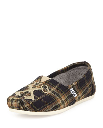 Embroidered Key Plaid Slip-On