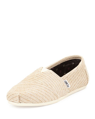 Woven Metallic Slip-On, Ivory
